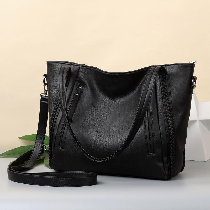 2018 brand high quality soft leather large pocket casual handbag women's handbag shoulder bag large capacity handbag