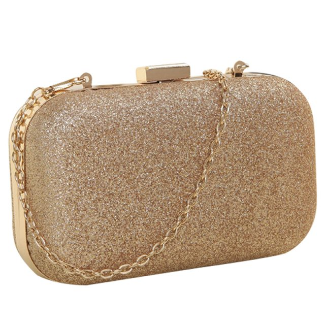 PU leather Women's mini evening bag fashion clutch banquet bag girls shoulder bag Messenger bag, Gold