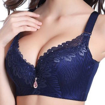 Sexy Deep V Bra Big Size Full Coverage Bras Push Up Brassiere Floral Lace Non Padded Lingerie46 48 50DE Cup Underwear For Women