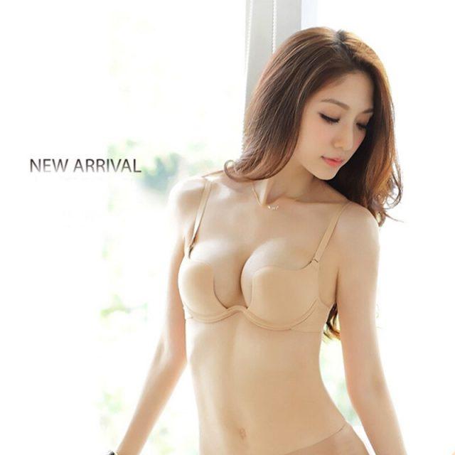 2019 Hot Sexy Cross Halter-Neck Women 1/2 cup Deep U Bra One-Piece Seamless Solid Underwear Invisible Bra