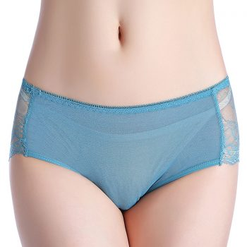 Women's Sexy Large size ultra-thin breathable comfortable breathable lace briefs matching underwear Hollow transparent