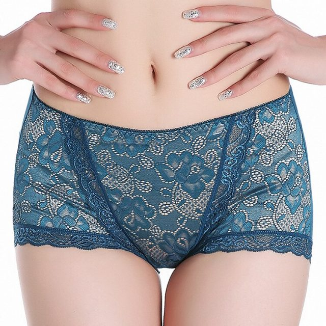 Women's Large-size fashion sexy comfortable high-breech mid-waistline pants lace belly-in-body Modal increase underwear