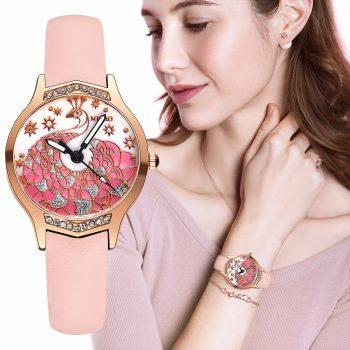 MEIBO Women Leather Peacock Diamond Watch Casual Luxury Ladies Quartz Analog Watches Clock Gift