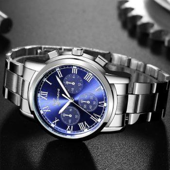 Luxury Quartz Sport Military Stainless Steel Dial Leather Band Wrist Watch Business Metal Wristwatch Men's Clock