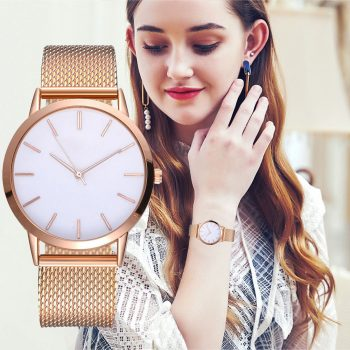 Hot sale Women's Casual Quartz Silicone strap Band Watch Analog Minimalist gold Wrist Watch relogio feminino montre femme 40Q