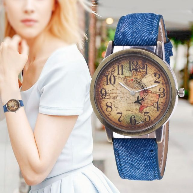 New Fashion Quartz Watch Men Unisex Map Airplane Travel Around The World Women Leather Dress Wrist Watches Relogio Feminino 328