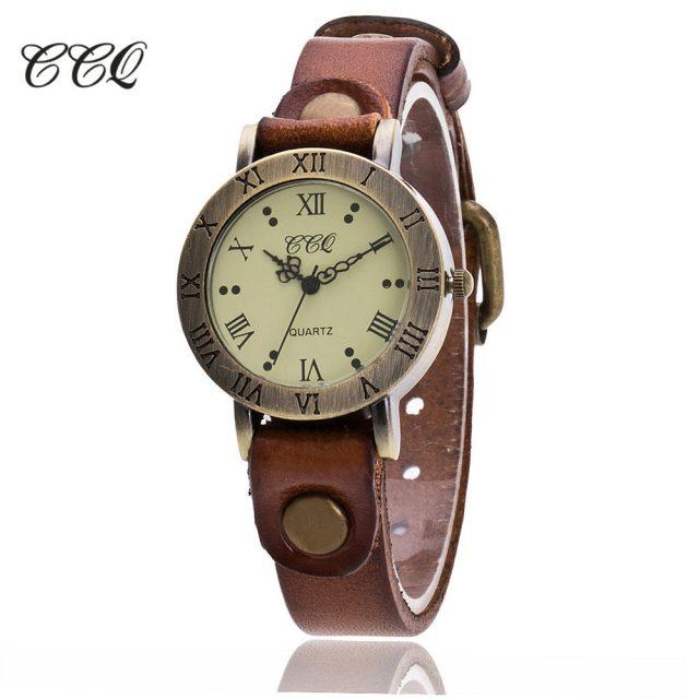Hot Selling CCQ Brand Vintage Cow Leather Wrist Watch Fashion Women Bracelet Watch Casual Quartz Watch Relogio Feminino Gift