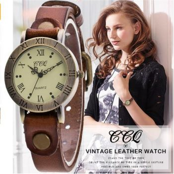 Hot Selling CCQ Brand Vintage Cow Leather Wrist Watch Fashion Women Bracelet Watch Casual Quartz Watch Relogio Feminino Gift