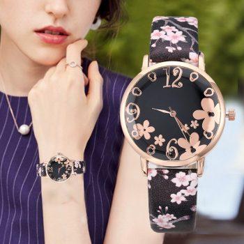 2019 Fashion Watch Women Embossed Flowers Small Fresh Printed Belt Student Watches Quartz Wristwatch Leather Band saar bracelet