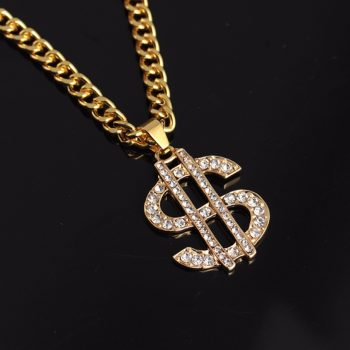 Hip Hop Gold Color Dollar Sign $ Pendants & Necklaces With Long Twist Chain Statement Necklace For Woman Men Shellhard Jewlery