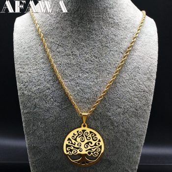 2019 Fashion Tree of Life Stainless Steel Necklaces Women Jewlery Gold Color Round Long Necklaces Jewelry collares joyas N18042