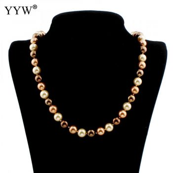 Mother'S Days South Sea Shell Sweater Chain Jewelry Necklace 10mm Round Beads Shell Jewlery For Woman