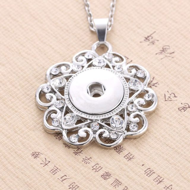 Boom Life 2018 New Fashion Beauty Pendant Crystal Snaps necklace fit DIY 18MM snap buttons jewlery wholesale women