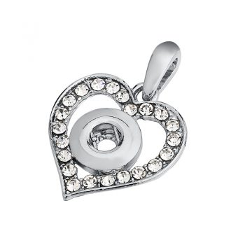 New Elegant Silver Color White Rhinestone Ibryant Snaps Necklace & Pendants Fit DIY 12MM Snap Buttons Jewlery With Chain IB468
