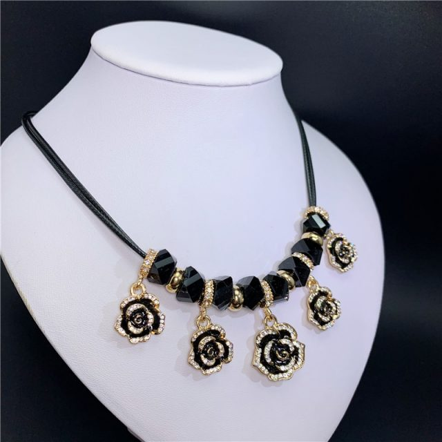 N102   flower Camellia jewerly esmaltes enamel jewlery colares collier neckless necklaces collares mujer for women 2019