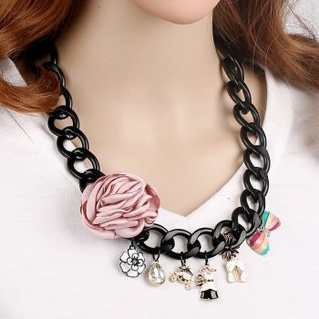 N76 camellia flowers jewlery Collier femme collar acessorios para mulher chocker short Jewelry Necklace 2016 new For Women
