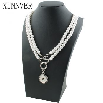 NEW Elegant Imitation pearls Snap necklace&bracelets 72cm fit DIY 18MM xinnver snap buttons jewlery wholesale women ZG119