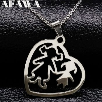 2019 MAMA and Girl Stainless Steel Necklace for Women Jewlery Silver Color Heart Pendant Necklace Jewelry N18046