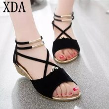 XDA 2019 fashion Women zipper sandals Shoes woman footwear sandals Women's summer shoes Gladiator Casual Ladies Shoes