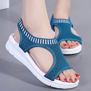 2019 Women Ladies Breathable Comfort Hollow Out Casual Wedges Cloth Shoes Sandals Fashion footwear woman sapato feminino