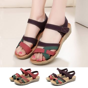 MUQGEW Summer Sandalias Mujer Women 2019 Ladies Leather Plus Size Footwear Fashion Leather Flat Sandal Wedges Comfort Beach Shoe