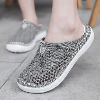 MUQGEW Waterproof Sandals Summer Women Slippers Ladies Beach Sandals Hollow Out Plus Size Casual Breathable Flats Shoes Footwear