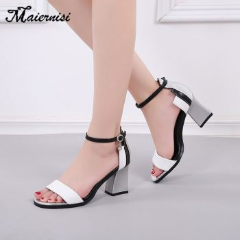 MAIERNISI Summer Women Shoes Gladiator Buckle Strap Women's Sandals Fashion Chunky Ladies Sandals For Woman Ankle Strap Footwear