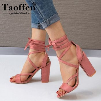 Taoffen Fashion Cross Strap High Heels Shoes Open Toe Solid Color Sandals Office Party Thick Heels Footwear Women Size 34-43