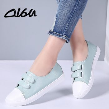 O16U Women Fashion Sneakers Shoes Leather Ladies Shallow Casual Shoes White Boat Footwear Female Old School Sneaker Flats Women