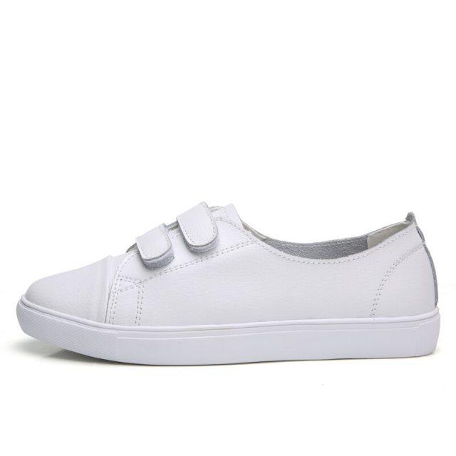 O16U Women Fashion Sneakers Shoes Leather Ladies Shallow Casual Shoes White Boat Footwear Female Old School Sneaker Flats Women