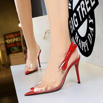 Ladies Footwear Women Fashion Shoes Transparent Film Pointed Toe Thin Heel Sandals High Heel Shoes buty damskie 2019