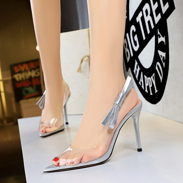 Ladies Footwear Women Fashion Shoes Transparent Film Pointed Toe Thin Heel Sandals High Heel Shoes buty damskie 2019