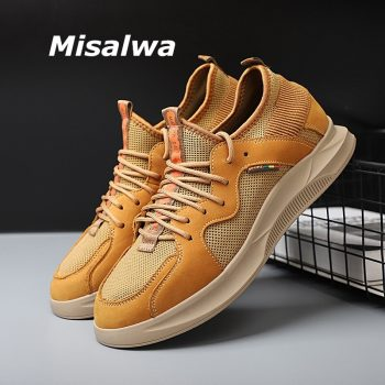 Misalwa 37-44 Spring Summer Mesh Men Sneakers 5 CM Invisible Height Increase Male Elevator Footwear Men's Casual Shoes Loafers