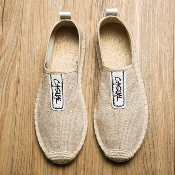 Summer Breathable Footwear Men's Flat Canvas Shoes Hemp Lazy Flats For Men Cheap Moccasins Male Loafers Driving Shoes Q58