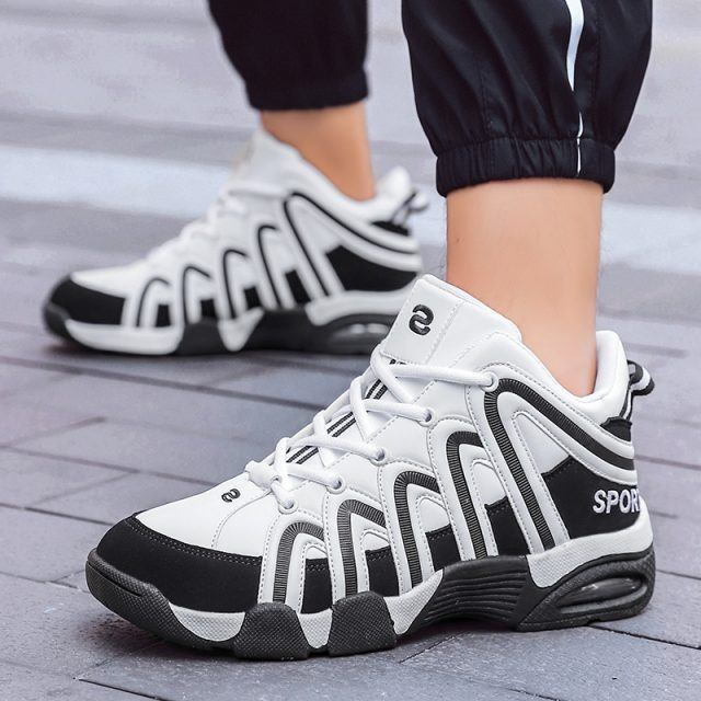 Unisex Fashion Sneakers Men Lace-up Air Cushion Shoes High Top Male Brand Footwear Men's Casual Black PU Sneakers Size 36- 45