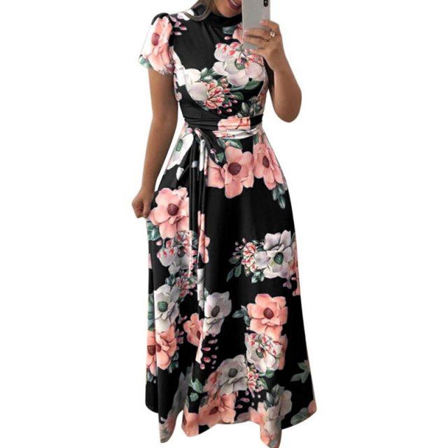 Laamei 2019 Floral Print Long Dress Summer Short Sleeve Women Maxi Dress Casual Bandage Elegant Dress Boho Vestidos Plus Size