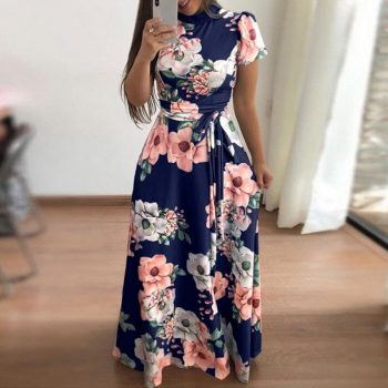 Laamei 2019 Floral Print Long Dress Summer Short Sleeve Women Maxi Dress Casual Bandage Elegant Dress Boho Vestidos Plus Size
