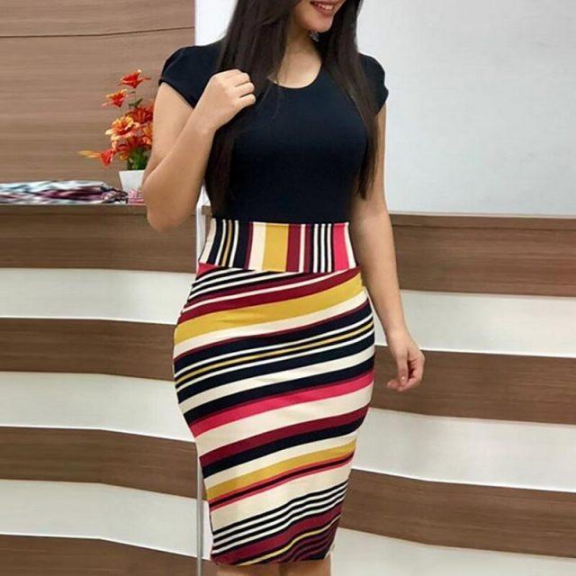Sexy Mini Vestidos Floral Printed Patchwork Bodycon Female Short Sleeve Dresses