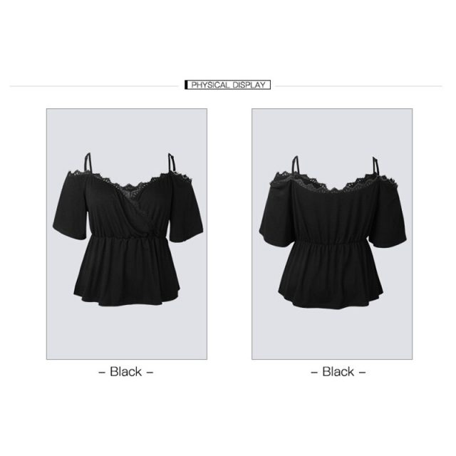 Plus Size Women Tunic Shirt Sexy Shoulder V-neck Blouse And Top