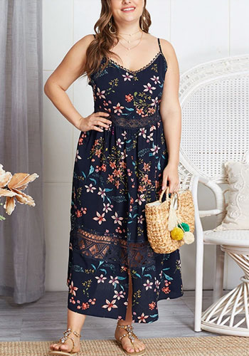 Sexy Plus Size Boho Strap Front Split Female Maxi Dress Torridity Sundress