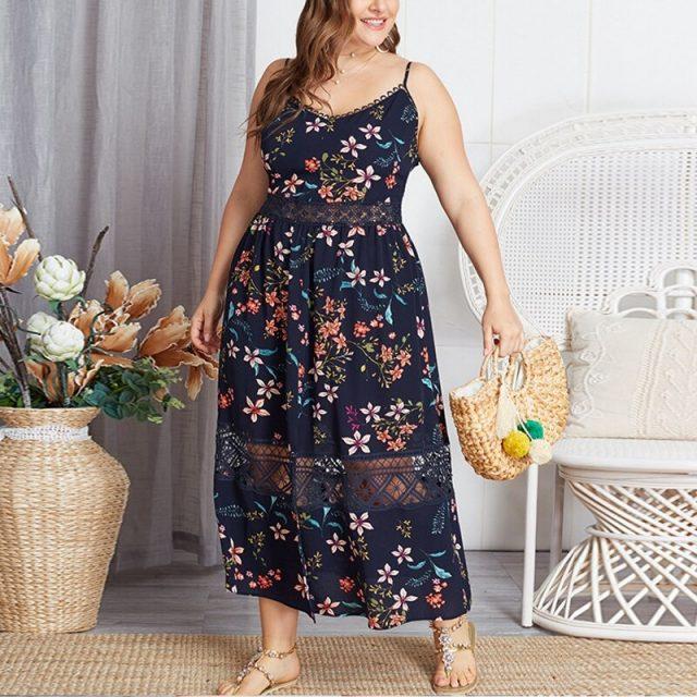 Sexy Plus Size Boho Strap Front Split Female Maxi Dress Torridity Sundress