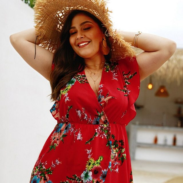 Sexy Plus Size Sleeveless Irregular Chiffon V-Neck Dress Beach Boho Vestidos Sundress