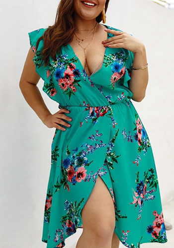 Sexy Plus Size Sleeveless Irregular Chiffon V-Neck Dress Beach Boho Vestidos Sundress