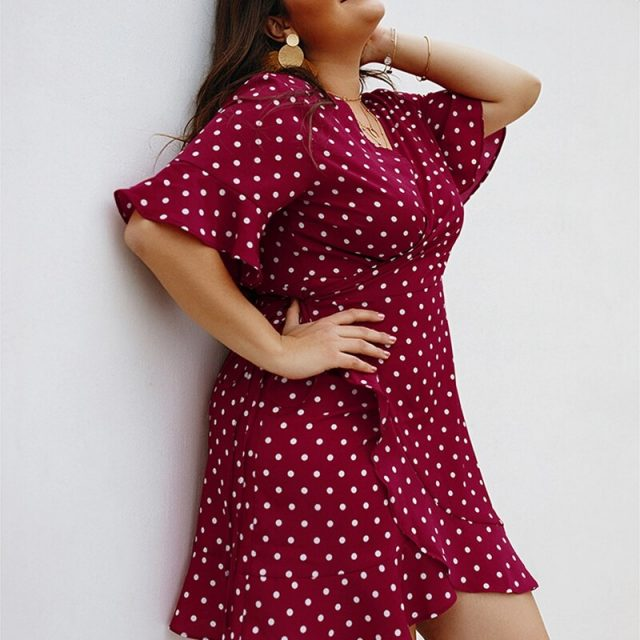 4XL Plus Size Dress Summer Polka Dot Print Large Size Female Dress