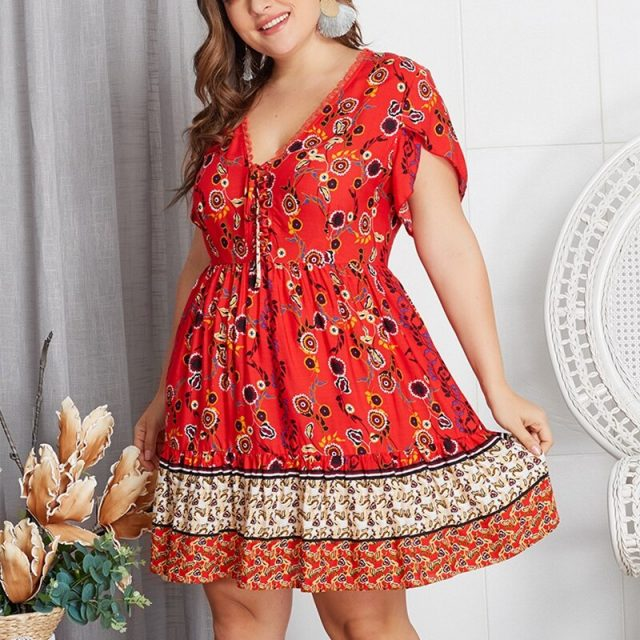 V Neck Pleated Red Mini Casual Retro Plus Size Dress