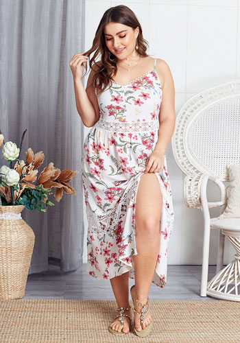 Front Split Female Midi Sexy Strap Plus Size Dress