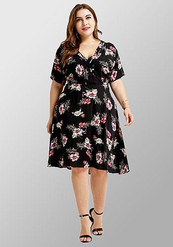 Printed Flower V Neck Comfortable Knee Length Plus Size Dress