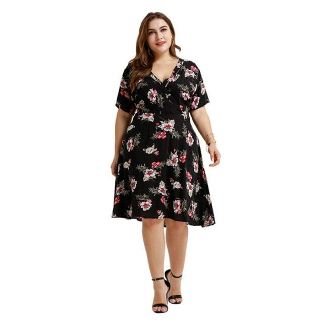 Printed Flower V Neck Comfortable Knee Length Plus Size Dress