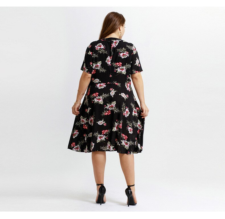 women one-piece printed flower V neck dress plus size cotton comfortable knee length Dresses