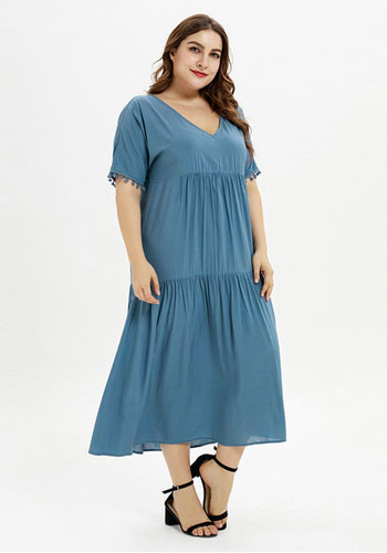 V Neck Cotton Comfortable Plus Size Dress